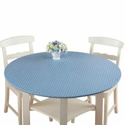 Tablecloth Elastic Vinyl Table Cover Easy Clean Top Round Fi