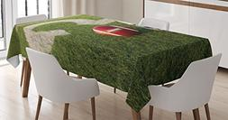 Ambesonne Sports Tablecloth, American Football on The Green