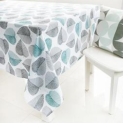 KindoBest Tablecloth Gray and Green leaves Pattern Rectangul