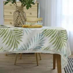 Tablecloth Leaves Rectangle Tassel Table Cloth for Home Kitc