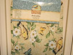 Susan Winget Tablecloth NEW 100% Cotton Floral w/ Birds, But