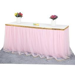 Haperlare 9ft Tablecloth Pink Tulle Table Skirt Tulle Pink T