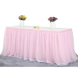 Haperlare 14ft Tablecloth Pink Tulle Table Skirt Queen Snowf