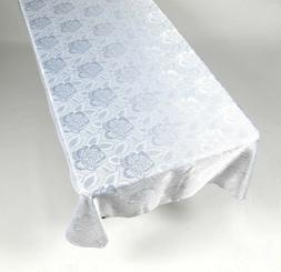 Tablecloth Table Cloth 60 x 108 Rose Damask Pattern Color Wh