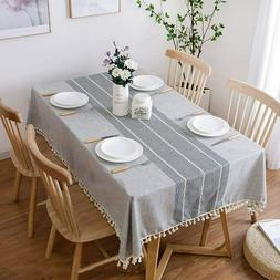Tablecloths Rectangle Tassel Cotton Table Cover Wrinkle Free