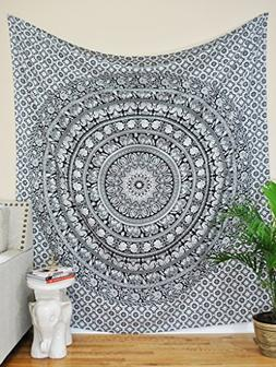 Tapestry Twin Black and White Hippie Elephant Mandala Tapest