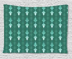 Ambesonne Teal Decor Collection, Abstract Vertical Curvy Lin