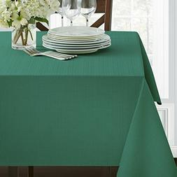 "Benson Mills Textured Fabric Tablecloth, Green Teal, 60"" x 1"