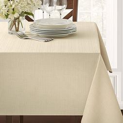 "Textured Fabric Tablecloth, Flax, 60"" x 84"" Rectangular"