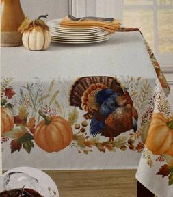 "Benson Mills Thankful Turkey Pumpkin Border Tablecloth 60"" X"