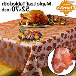 Thanksgiving Decorations Tablecloth Embroidered Maple Leaf L
