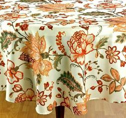 """Thanksgiving /& Fall Decor Tablecloth Shimmery Bronze Fall Leaves 60/""""x 84/"""" Oval"""
