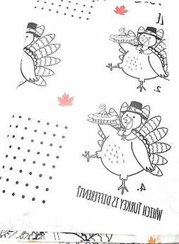 Thanksgiving Table Cloth, Kids Activity Disposable Paper Rec