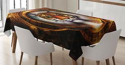 Tiger Tablecloth Ancient Mayan Calender Rectangular Table Co