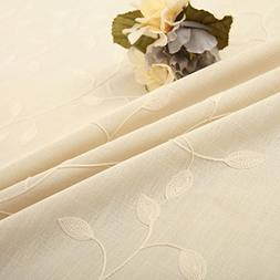 tina cotton linen leaf embroidered