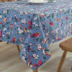 Tina Cotton Vintage Bird Floral Print Tablecloth Table Cover