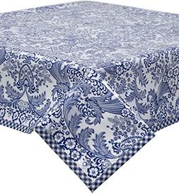 Freckled Sage Toile Blue Oilcloth Tablecloth with Navy Gingh
