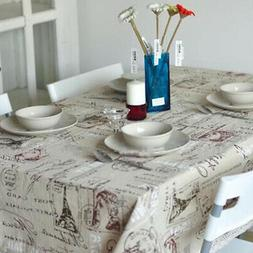 Tower Printing Decorative Table Cloth Cotton Linen Lace Dini
