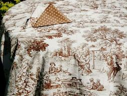 LE CLUNY, TRIANON CHOCOLATE FRENCH TOILE COATED COTTON TABLE