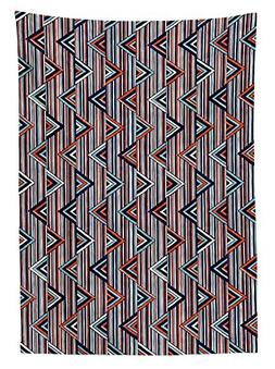 Tribal Decor Tablecloth Striped African Abstract Ethnic Patt