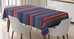 Ambesonne Tribal Tablecloth, Striped Retro Aztec Pattern wit