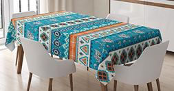 Ambesonne Tribal Tablecloth, Aztec Ethnic Print with Persian