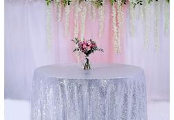 BalsaCircle TRLYC 132-Inch Round Wedding Sequin Tablecloth f
