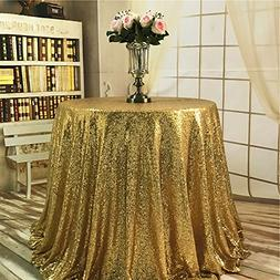 BalsaCircle TRLYC Round Cake Sequin Gold Sequin Tablecloth f
