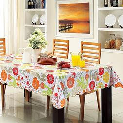 ColorBird Tropical Colorful Flower Flannel Backed PVC Tablec