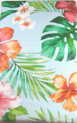 Tropical Floral Vinyl Tablecloths Umbrella Hole  w/Zipper As