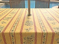 Umbrella Hole Rectangle or Oval Stain Resistant Tablecloth -