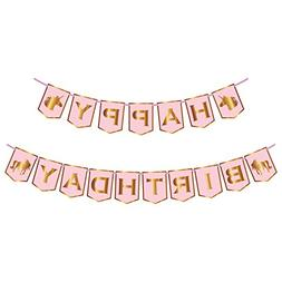 Unicorn Happy Birthday Banner | Pink And Gold | No Assembly
