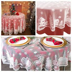 """US 70"""" White Round Christmas Table Cloth Cover Lace Tableclo"""