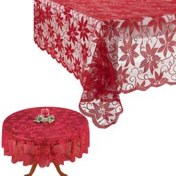 US! Christmas Table Cloth Red Lace Table Cover Wedding Holid