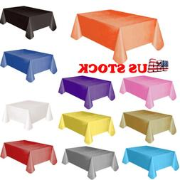 US Plastic Table Cover Cloth Wipe Clean Party Tablecloth Rec