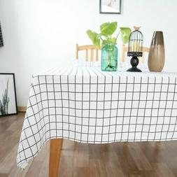 US Rectangle Table Cloth Cotton Linen Household Garden Dinin