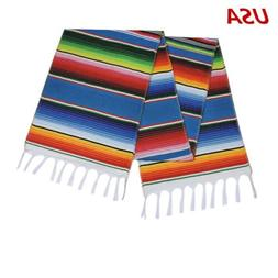 US Stock Mexican Serape Table Runner Fringe Cotton Tableclot