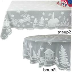 USA Christmas Xmas Table Cloth Cover White Lace Tablecloth H
