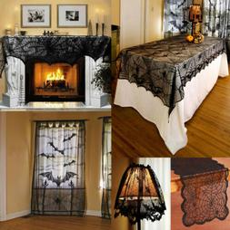 USA Halloween Bat Lace Props Table Lamp Cover Curtain Firepl