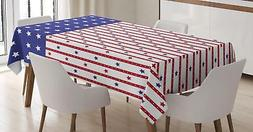 USA Tablecloth by Ambesonne 3 Sizes Rectangular Table Cover