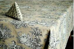 LE CLUNY, VILLANDRY BEIGE FRENCH PROVENCE COATED COTTON TABL