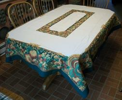 """VINTAGE 85"""" by 61"""" PRINTED THANKSGIVING TABLE CLOTH -  GREEN"""