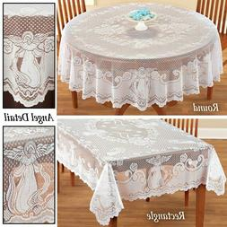 vintage angel lace tablecloth rectangle round table