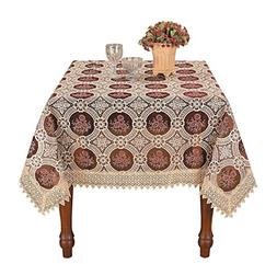 Simhomsen Vintage Burgundy Lace Tablecloth Embroidered Squar