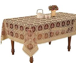 Simhomsen Vintage Burgundy Lace Tablecloth Embroidered Recta