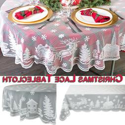Vintage Christmas Table Cloth Cover White Lace Tablecloth Ho