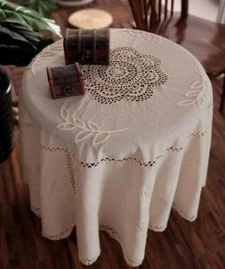 vintage floral hand embroidered round lace table