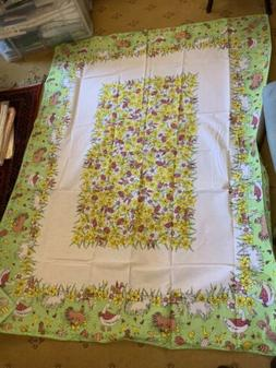 Vintage EASTER themed cotton Blend  table cloth - Eggs & chi