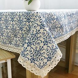 ColorBird Vintage Navy Damask Pattern Decorative Macrame Lac