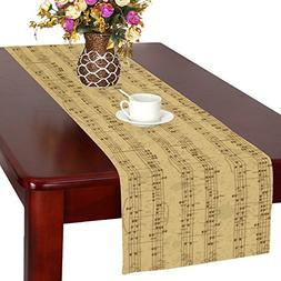InterestPrint Vintage Pattern of Music Stave Note Long Table